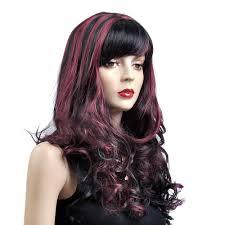 woman u0027s wig black red medium curly purple highlights d3293 women