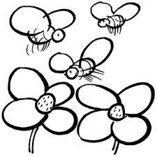 dibujo colorear abejas flores dibujos colorear
