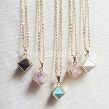 stone pendant necklace wholesale images Wt n695 charm octagon shape tiny stone pendant for wholesale jpg