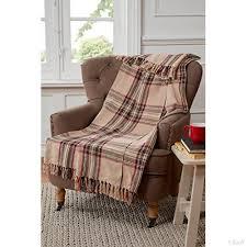 plaid coton canapé tartan motif à carreaux plaid pour canapé fauteuil lit coton beige