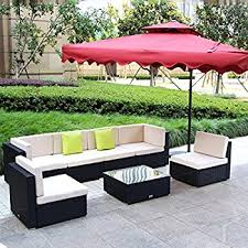 Rattan Outdoor Patio Furniture by Amazon Com Outsunny 3 Piece Outdoor Rattan Wicker Sofa And