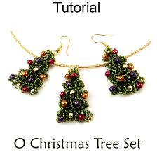 beaded christmas tree pendant necklace earrings beading jewelry