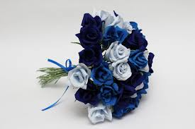 wedding flowers blue bridesmaid bouquet paper flowers wedding flowers wedding