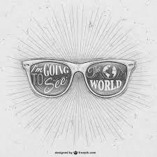 hand drawn retro sunglasses vector free download