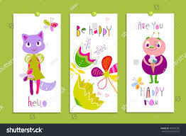 set creative cards funny monsters flowers stock vector 485089795