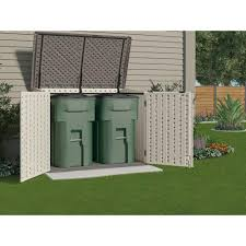 suncast trash can shed resin horizontal with durable double wall