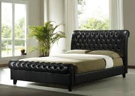 richmond brown faux leather sleigh bed frame wooden leg leather