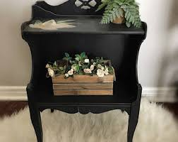 Black Wood Nightstand Boho Nightstand Etsy