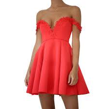 online get cheap red off shoulder skater dress aliexpress com