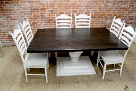 Pedestal Oak Table And Chairs Large Square Farm Table Ecustomfinishes