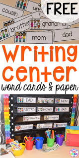 scented writing paper writing center freebie family word cards event word cards and writing center freebies perfect for preschool pre k and kindergarten family word