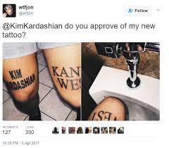 kim kardashian u0027s response to fan who tattooed kimye on his thighs