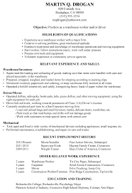 Qualifications In Resume Examples by Resume Sample Warehouse Worker Driver