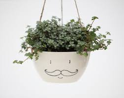 White Hanging Planter by A Man With Moustache Hanging Planter Medium Size In Black And