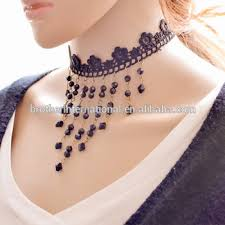 elegant black necklace images Elegant black lace wave choker necklace pearl pendant crochet jpg