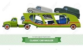 car carrier truck classic medium duty car carrier truck side view royalty free