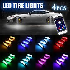 app controlled car lights 4pcs car flares rgb led light wheel eyebrow phone app voice control