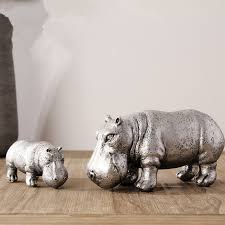 2pcs hippo family aesthetic resin ornaments home office desktop