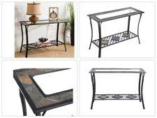 black metal entry table modern chrome metal glass top sofa console hall entry table