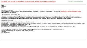 agricultural produce commission agent offer letter