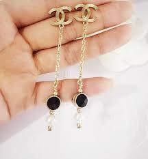 cc earrings authentic chanel gold cc earrings dangle drop