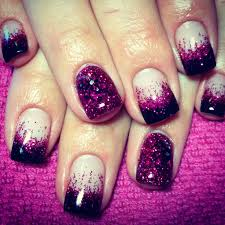 black tip pink glitter fade gel nails with glitter feature nail