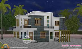 Home Design For 2200 Sq Ft 4 Bedroom Flat Roof Style House 2200 Sq Ft Kerala Home Design