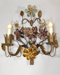 Lighting Wall Sconces Pair Of Antique French Bronze Two Light Wall Sconces With Cut