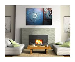 art home decor delicate cherry blossom grasses moon and plum blossom painting