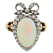 opal engagement rings victorian opal diamond gold crown and heart motif ring at 1stdibs