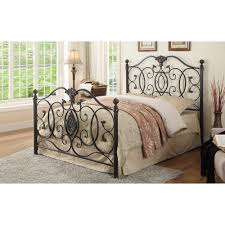 queen iron bed with scroll design
