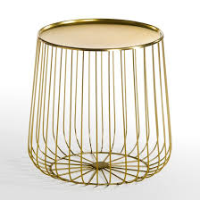 Wire Side Table Cage Metal Wire Side Table Gold Am Pm La Redoute