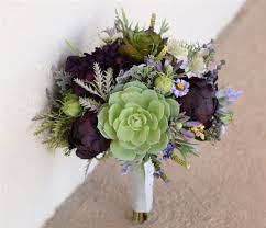 succulent bouquet plum eggplant fall wedding rustic bouquet with peonies and succulents