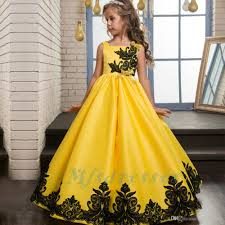 2017 new princess satin lace applique yellow flower dresses
