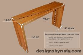 butchered butcher block console table by designs by rudy butchered butcher block console table dimensions designs by rudy