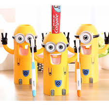 yellow minions automatic toothpaste dispenser bathroom accessories
