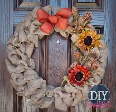 fall burlap and sunflower wreath diy swank