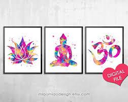 Lotus Flower With Om Symbol - set of 3 prints lotus buddha om symbol yoga studio decor