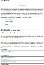 waiter waitress cv examples forums learnist org