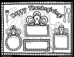 free thanksgiving coloring placemat fall