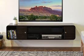 Media Storage Shelves by Natural Polished Birch Wood Two Tier Wall Shelves For Media