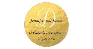 monogram stickers gold foil monogram stickers for wedding favors zazzle