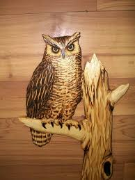 great wood carvings carved great horned owl wall chainsaw wood carving cabin
