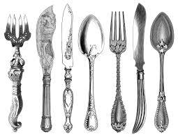 black and white clip art kitchen printable fork knife spoon