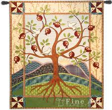 roots and wings tapestry wall hanging abstract folk inspired