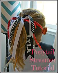 ribbon for hair that says gymnastics ribbon pony tails for the girls might make ahead to wear during