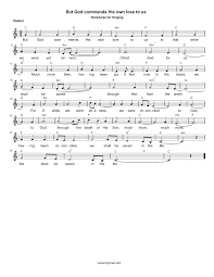 thanksgiving piano sheet music hymn but god commends his own love to us