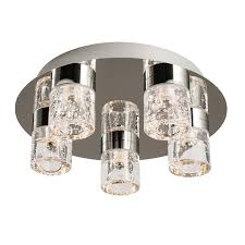 imperial chrome finish and clear glass with bubbles flush 5 light
