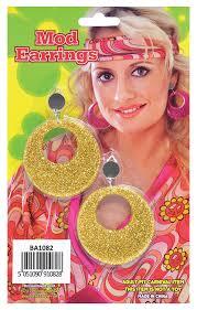70 s earrings earrings 60 s 60s gold glitter mod 70s 70 s fancy dress bristol