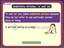 definite and indefinite articles youtube